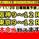 【競馬予想】11月29日(日) 全レース予想本命馬を無料公開!【ジャパンカップ】【京阪杯】