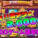 【オンラインカジノ】DOG HOUSE MEGAWAYS 3,000ゲーム確率検証!!【2,000倍の高配当】
