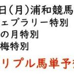 【浦和競馬トリプル馬単予想】フェブラリー特別・卯の月特別・蝋梅特別【2021年2月1日】