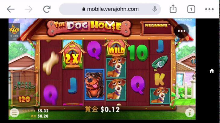【オンラインカジノ】THE DOG HOUSE 10ドル勝負💵