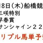 【船橋競馬トリプル馬単予想】三咲特別・早春賞・サンシャイン2200【南関競馬2021年3月18日】
