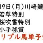 【川崎競馬トリプル馬単予想】若草特別・桜吹雪特別・小手毬賞【南関競馬2021年4月19日】