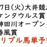 【大井競馬トリプル馬単予想】ケンタウルス賞・神田川オープン・春風賞【南関競馬2021年4月27日】