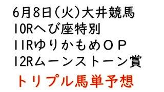 【大井競馬予想】ゆりかもめオープン他10R・12R【2021年6月8日】