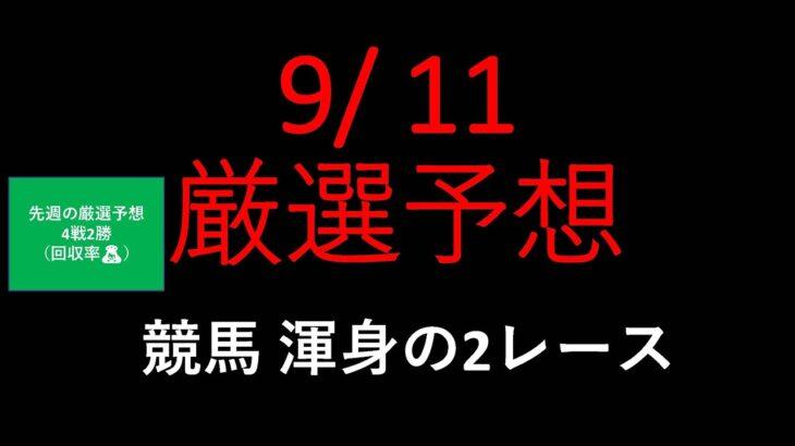 【競馬予想】2021 9/11厳選予想【平場予想】